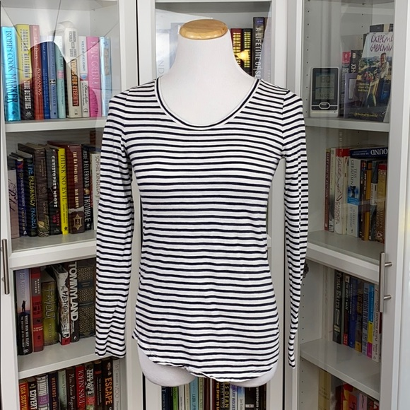 LOFT Black/White Striped Vintage Soft Tee